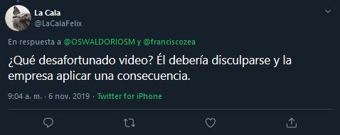 Screenshot_2019-11-06 (1) La Cala en Twitter OSWALDORIOSM franciscozea ¿Qué desafortunado video Él debería disculparse y la[...]
